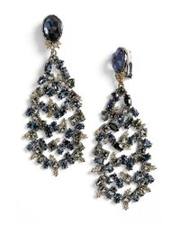 Alexis Bittar | Metallic Crystal Drop Earrings - Gunmetal | Lyst
