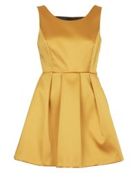 TOPSHOP | Yellow Petite Duchess Satin Bow Back Dress | Lyst