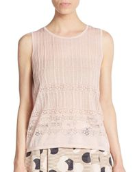 1.STATE | Pink Pointelle Knit Top | Lyst