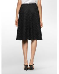 Calvin Klein - Black White Label Lace Midi Skirt - Lyst