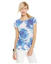 INC International Concepts | Blue Plus Size Placed-floral Rhinestone Tee | Lyst