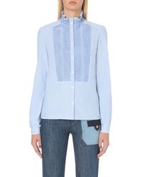 See By Chloé | Blue Ruffled-collar Cotton Shirt | Lyst