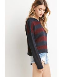 Forever 21 - Blue Hooded Stripe Sweater - Lyst