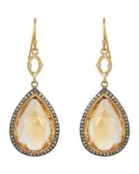 Sara Weinstock | Orange Pave Diamond Cage Drop Earrings | Lyst