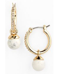 Anne Klein | Metallic Stone Drop Hoop Earrings | Lyst