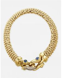 Lord & Taylor | Metallic Sapphire And Diamond Closure 14 Kt. Gold Bracelet | Lyst