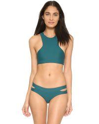 Mikoh Swimwear | Green Barbados Cutout Sport Bikini Top | Lyst