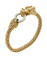 John Hardy | Metallic Gold Naga Dragon Diamond O-ring Bracelet | Lyst