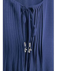 Mango - Blue Pleated Panel Dress - Lyst