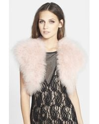 Betsey Johnson | Natural Genuine Marabou Vest | Lyst