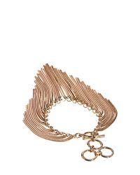 French Connection - Metallic Snake Chain Fringe Bracelet - Lyst