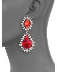 DANNIJO   Red Carrie Crystal Drop Earrings   Lyst