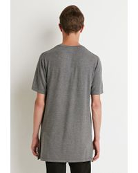 Forever 21 - Gray Longline Vented Tee for Men - Lyst