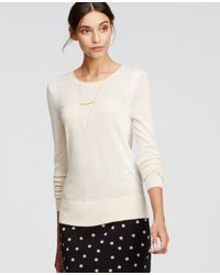 Ann Taylor | Natural Colorblock Button Back Sweater | Lyst