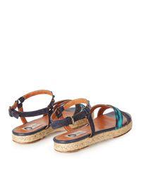 Lanvin - Blue Jacquard Espadrille Sandals - Lyst