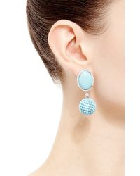 Gioia - Blue Turquoise, Diamonds, And Turquoise Beads Drop Earrings - Lyst