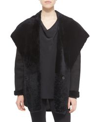 Vince - Black Hooded Shearling Jacket - Lyst