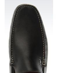 Armani Jeans | Black Classic Leather Driving Shoe for Men | Lyst