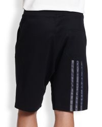 Y-3 - Black Lux Track Shorts for Men - Lyst