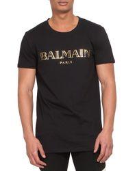 Balmain - Black Logo Print Cotton Jersey Tee for Men - Lyst