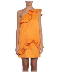 MSGM - Orange One-shoulder Cotton And Viscose Dress - Lyst