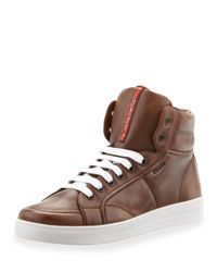 Prada - Brown Avenue Saffiano High-Top Sneaker for Men - Lyst