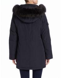 Calvin Klein | Blue Convertible Faux Fur-trimmed Utility Parka | Lyst