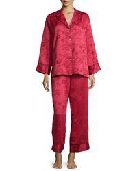 Natori - Black Cloisonne Floral-jacquard Long-sleeve Pajama Set - Lyst