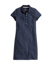 H&M   Blue Piqué Dress   Lyst