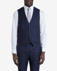 Ted Baker - Blue Debonair Wool Suit Waistcoat for Men - Lyst