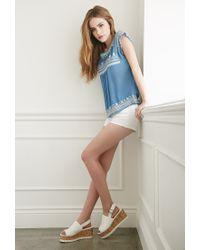 Forever 21 - Blue Embroidered Gauze Top - Lyst