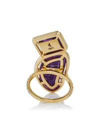 Jordan Alexander - Metallic Mo Exclusive: 18k Gold Amethyst And Charoite Ring - Lyst