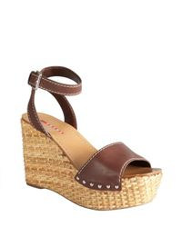 Prada - Sport Brown Leather Ankle Strap Basketweave Wedges - Lyst