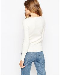 ASOS | White Top In Rib Knit With Lace Up | Lyst