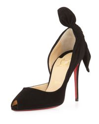 Christian Louboutin | Black Barbara Knotted Half D'Orsay Pumps | Lyst