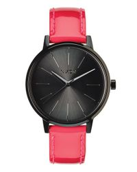 Nixon - Pink 'the Kensington' Patent Leather Strap Watch - Lyst