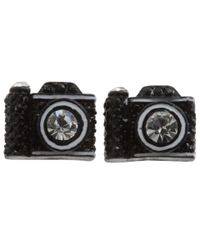 Betsey Johnson - Black Miami Chic Camera Stud Earring - Lyst