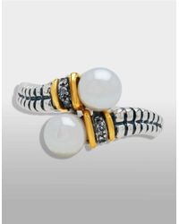Lord & Taylor - Metallic Sterling Silver And 14k Yellow Gold Pearl Ring - Lyst