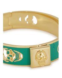 Alexander McQueen - Green Enamel Cut-Out Skull Bracelet - Lyst