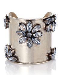 Janis By Janis Savitt - Metallic Silver-Tone Flower Cuff - Lyst