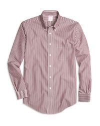 Brooks Brothers - Purple Non-iron Milano Fit Ground Stripe Sport Shirt for Men - Lyst