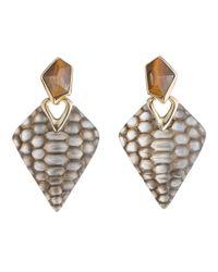 Alexis Bittar Metallic Croc Textured Dangle Clip Earring
