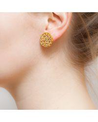 Kastur Jewels - Metallic Crystal Slice Round Stud Earrings - Lyst