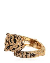 Roberto Cavalli - Metallic Jeweled Panther Cuff Bracelet - Lyst