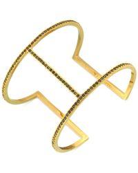 Vince Camuto | Metallic Gold-Tone Black Crystal T-Bar Cuff Bracelet | Lyst