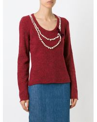 Moschino - Red Pearl Embellished Jumper - Lyst