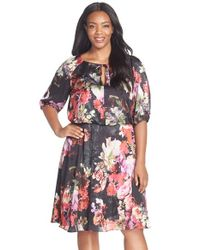 Adrianna Papell - Black Floral Print Tie Neck Blouson Dress - Lyst