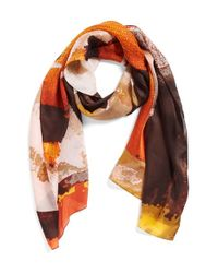 Vince Camuto | Orange 'pixel Paint' Silk Scarf | Lyst