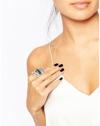 Oasis | Metallic Parallel Lines Adjustable Statement Ring | Lyst