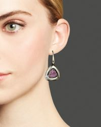 Roberto Coin - Purple Ruthenium And Sterling Silver Earrings With Rhodolite - Lyst